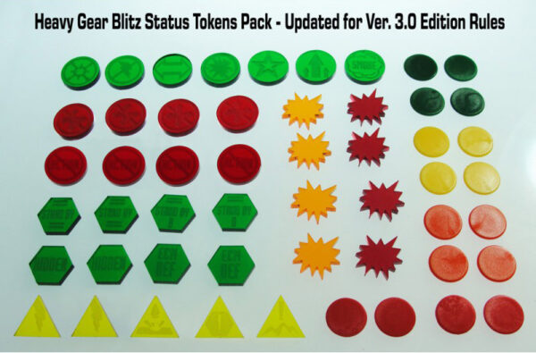 Heavy Gear Blitz Status Tokens Pack 3rd Edition contents