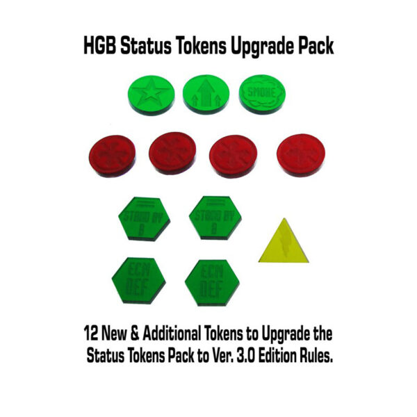 Heavy Gear Blitz Status Tokens Upgrade Pack contents   12 new & additional tokens to upgrade the Status Tokens Pack to Ver 3.0 Edition Rules