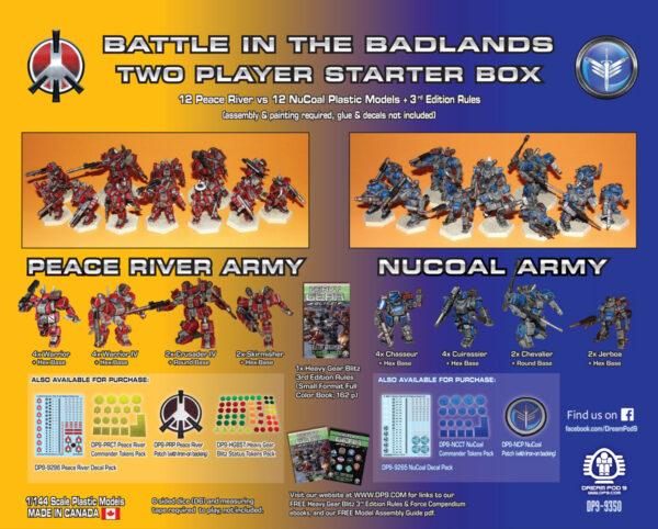 Battle in the Badlands: 2 Player Starter Box Back   Heavy Gear Blitz!