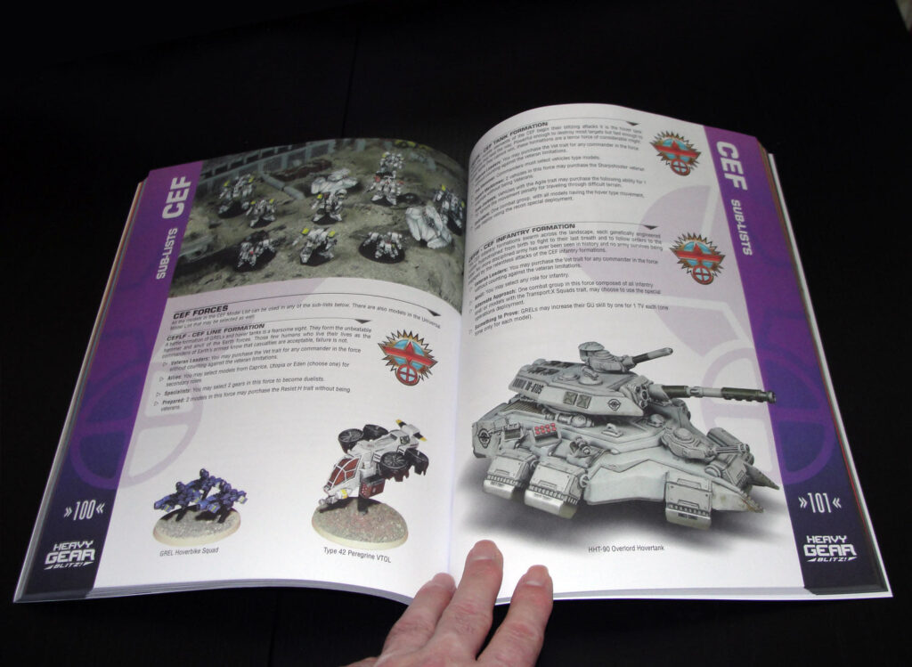 Heavy Gear Blitz 3rd Edition Rulebook CEF Faction page spread
